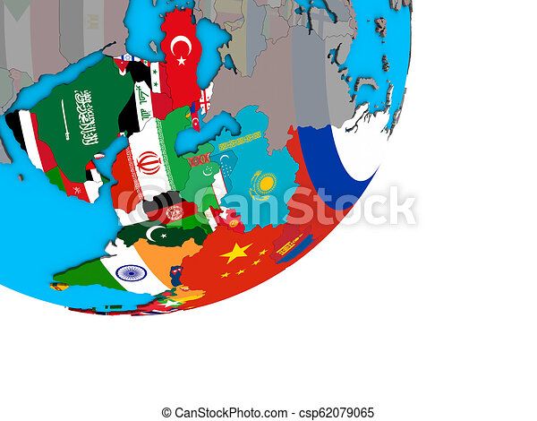 Map of Asia with flags on globe - csp62079065