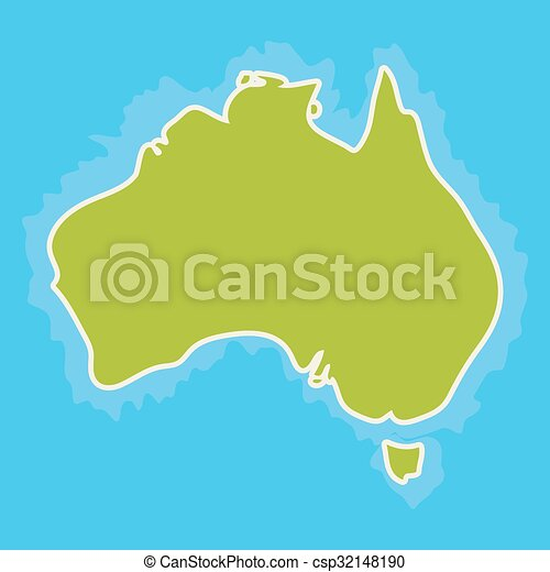 Map of australia continent and blue indian ocean. vector illustration.