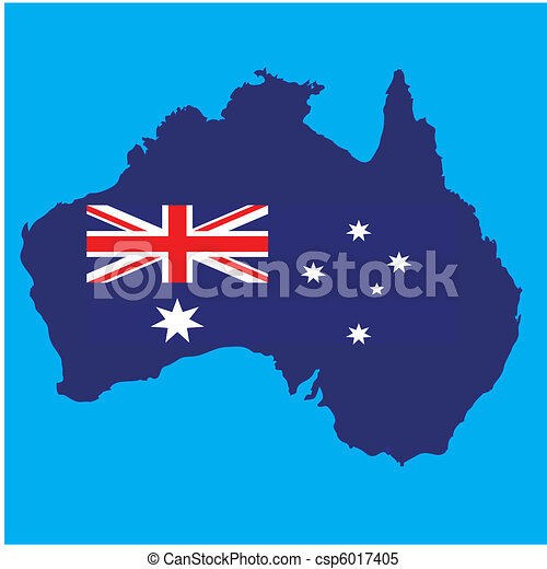 map of australia with flag - csp6017405