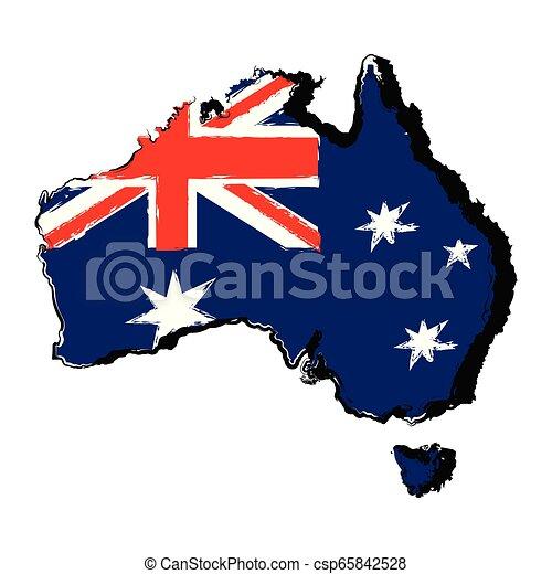 Map of Australia with flag - csp65842528