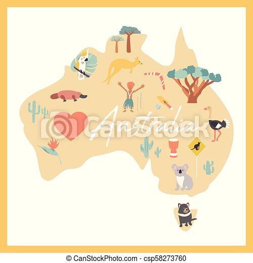 Australia Map Landmarks.Map Of Australia With Landmarks And Wildlife
