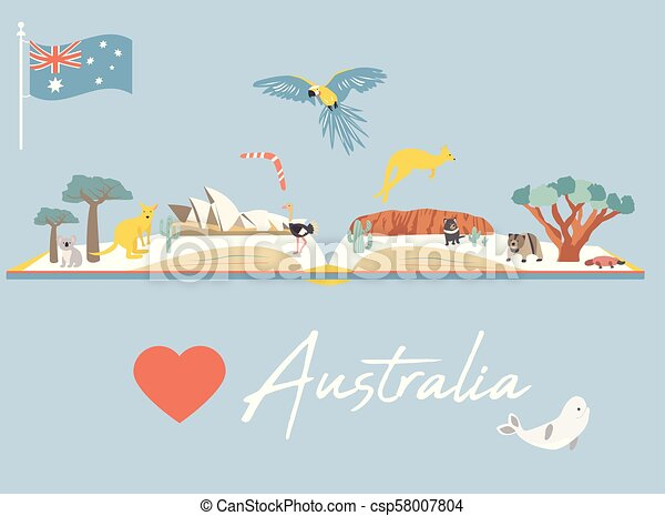 Map Of Australia With Landmarks.Map Of Australia With Landmarks And Wildlife
