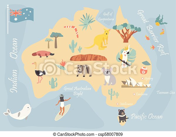 Australia Travel Map.Map Of Australia With Landmarks And Wildlife