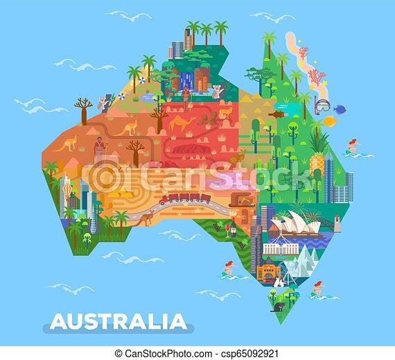 Australia Map Landmarks.Map Of Australia With Landmarks Of Architecture