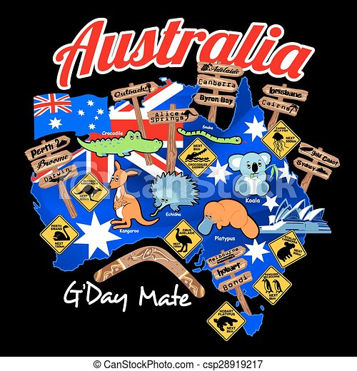 Map of Australia with nation flag and icons - csp28919217