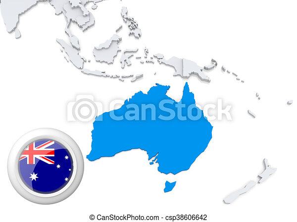 Map of australia with national flag - csp38606642