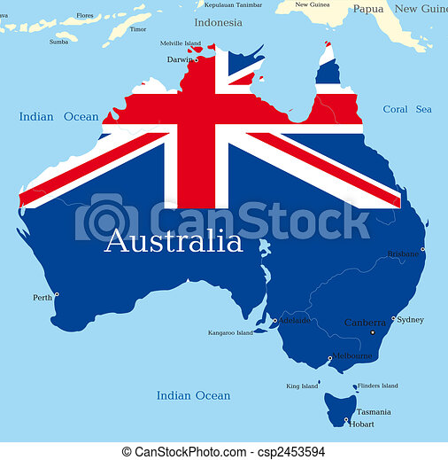 Abstract map of australian continent colored by national flag.