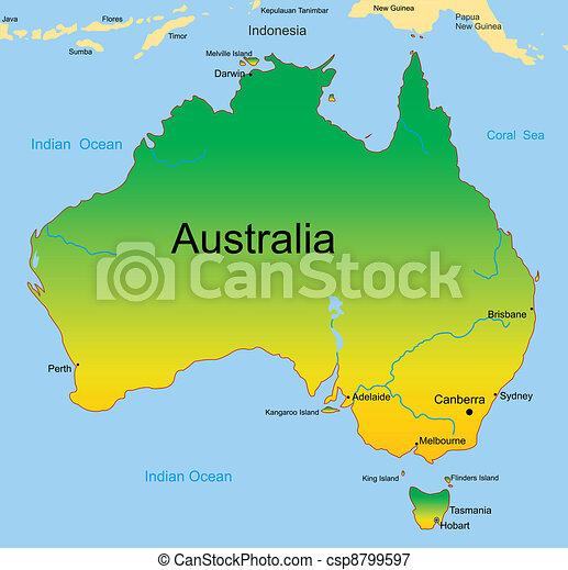 map of australian continent - csp8799597