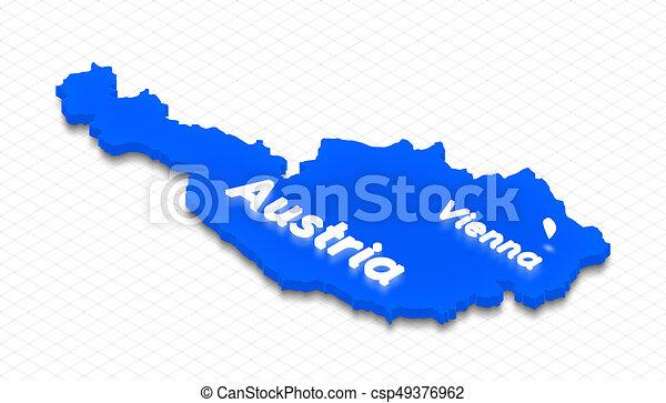 Map of Austria. 3D isometric perspective illustration. - csp49376962