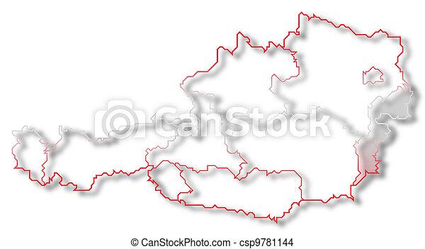 Map of Austria, Burgenland highlighted - csp9781144