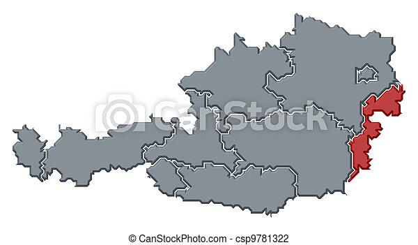 Map of Austria, Burgenland highlighted - csp9781322