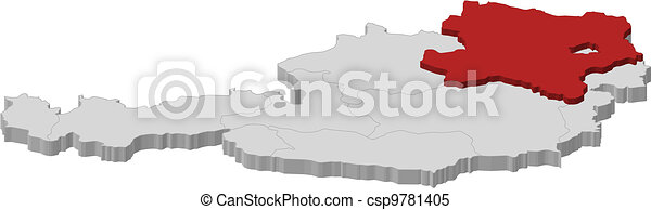 Map of Austria, Lower Austria highlighted - csp9781405