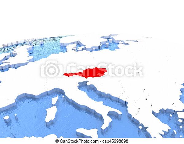Map of Austria on globe - csp45398898
