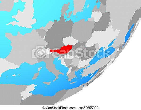 Map of Austria on globe - csp62655990