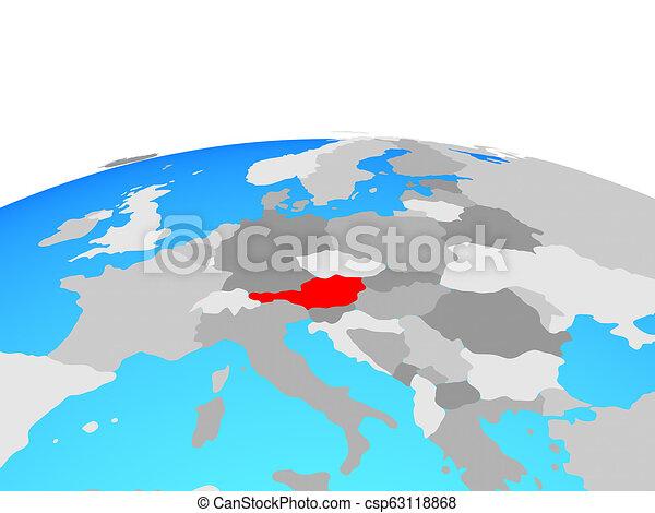 Map of Austria on globe - csp63118868
