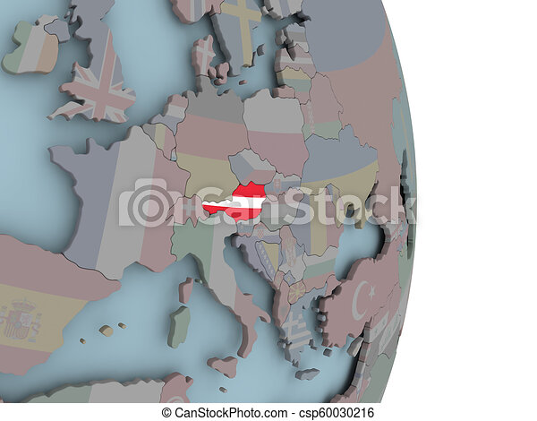 Map of Austria on political globe with flag - csp60030216