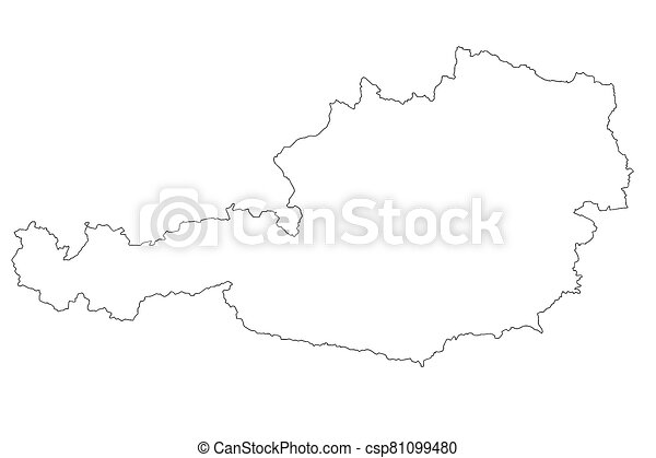 Map of Austria with isolated on white background - csp81099480