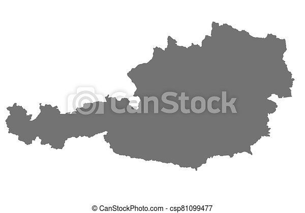 Map of Austria with isolated on white background - csp81099477