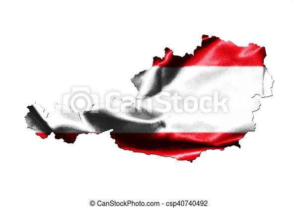 Map of Austria with national flag - csp40740492