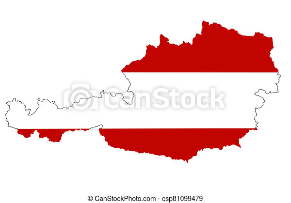 Map of Austria with national flag isolated on white background - csp81099479