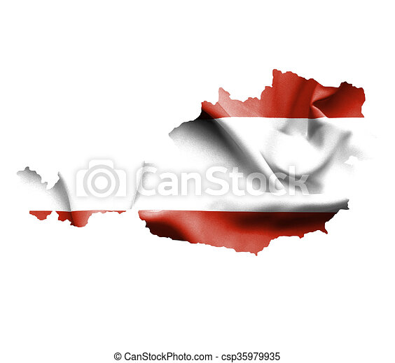 Map of Austria with waving flag isolated on white - csp35979935