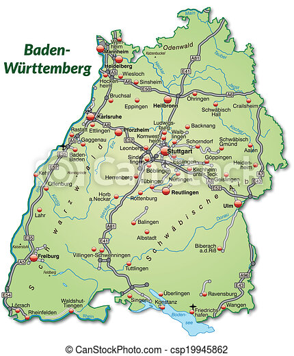 Map of badenwuerttemberg with highways in pastel green clip art