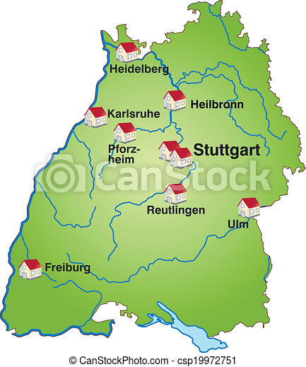 Map of badenwuerttemberg as an infographic in green clipart vector