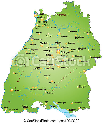 Map of badenwuerttemberg as an overview map in green vector
