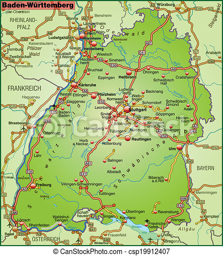 Map of badenwuerttemberg with highways vector clipart Search