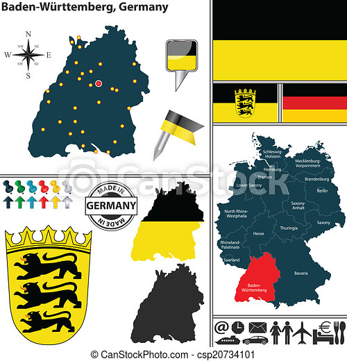 Map Of Baden Wurttemberg Germany Vector Map Of State Baden