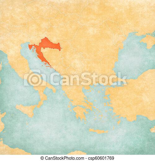 Map of Balkans - Croatia