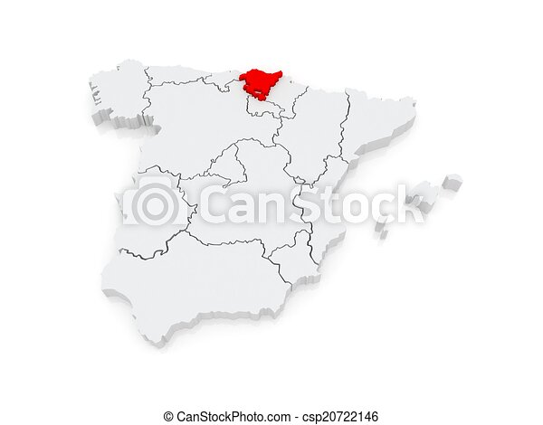 Map Of Basque Country Spain 3d