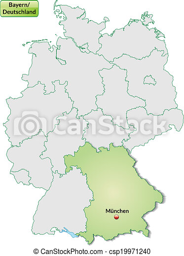 Map Of Bavaria With Main Cities In Pastel Green