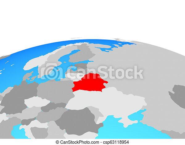 Map of Belarus on globe - csp63118954