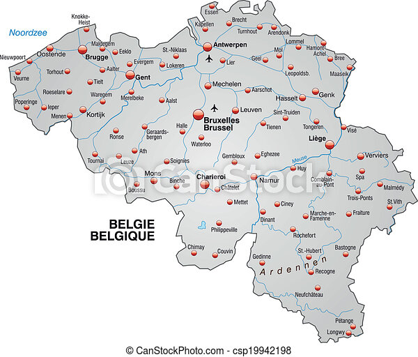 Map of belgium as an overview map in gray eps vectors Search Clip