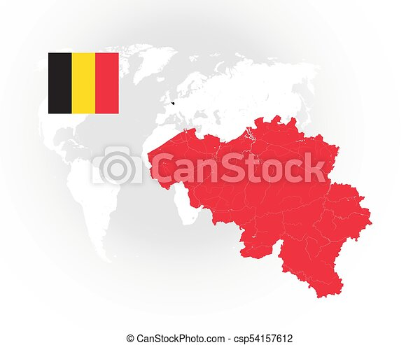map of belgium with rivers and lakes and the national flags of belgium csp54157612