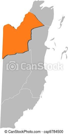 Political Map Of Belize.Map Of Belize Orange Walk Highlighted Political Map Of Belize With