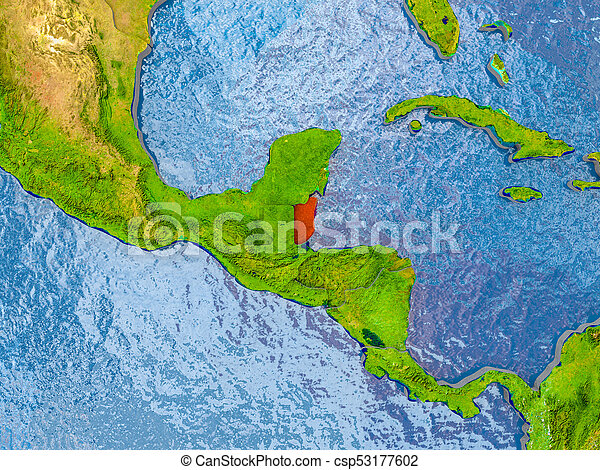 Map Of Belize Belize In Red On Realistic Map With Embossed Countries 3d Illustration Elements Of This Image Furnished By Canstock
