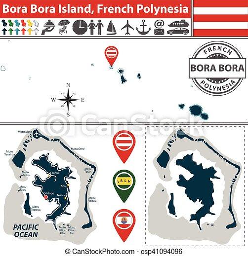 Map Of Bora Bora Island French Polynesia