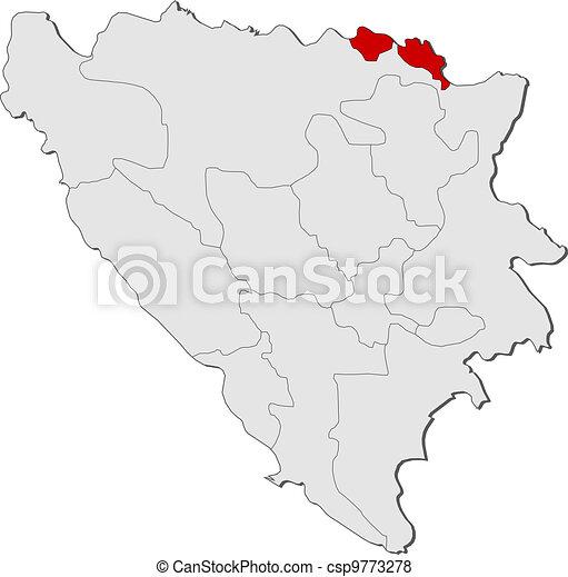 Map of Bosnia and Herzegovina, Posavina highlighted