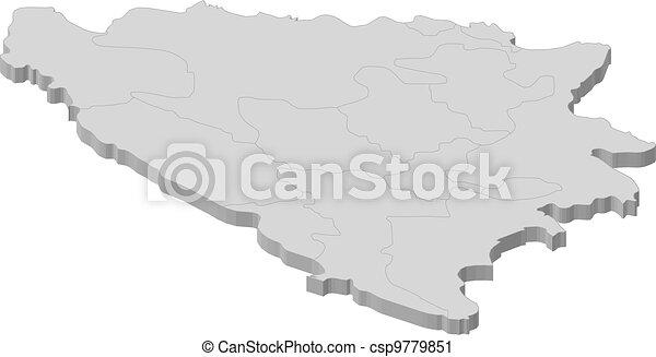 Map of bosnia and herzegovina. Political map of bosnia and ...
