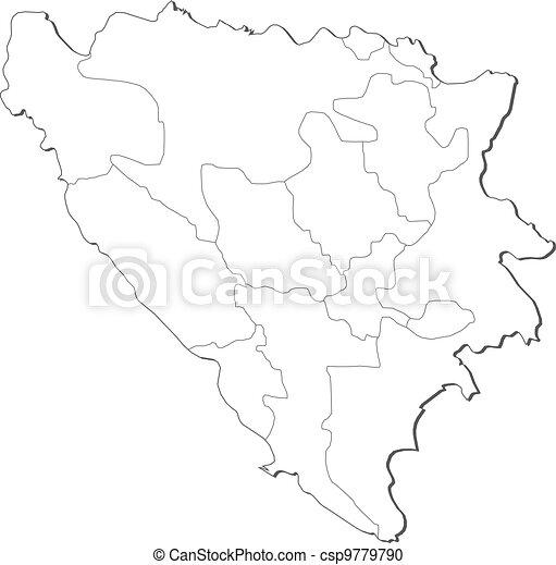 Map of Bosnia and Herzegovina - csp9779790