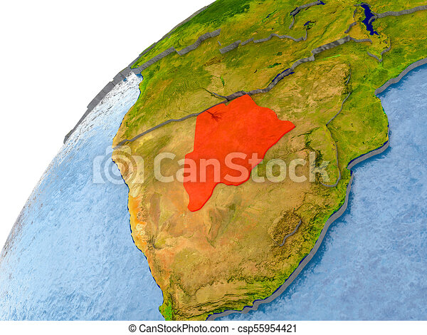 Map of Botswana in red on globe - csp55954421