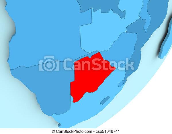 Map of Botswana on blue political globe - csp51048741