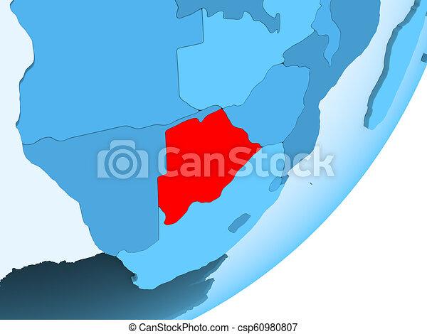 Map of Botswana on blue political globe - csp60980807