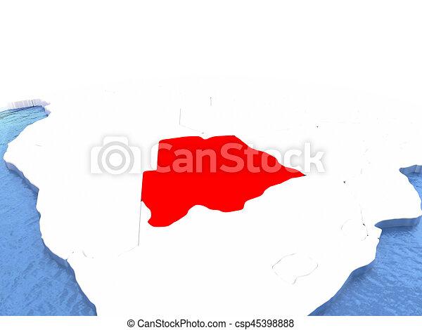 Map of Botswana on globe - csp45398888