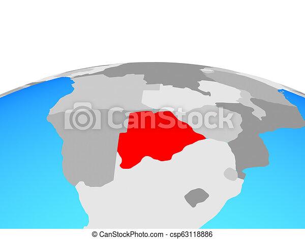 Map of Botswana on globe - csp63118886