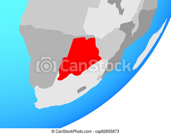 Map of Botswana on globe - csp62655873