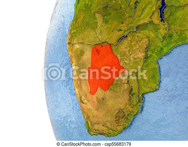 Map of Botswana on model of globe - csp55683179
