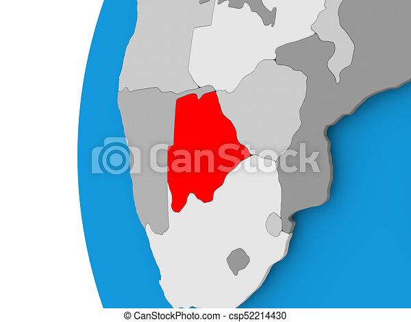 Map of Botswana on political globe - csp52214430